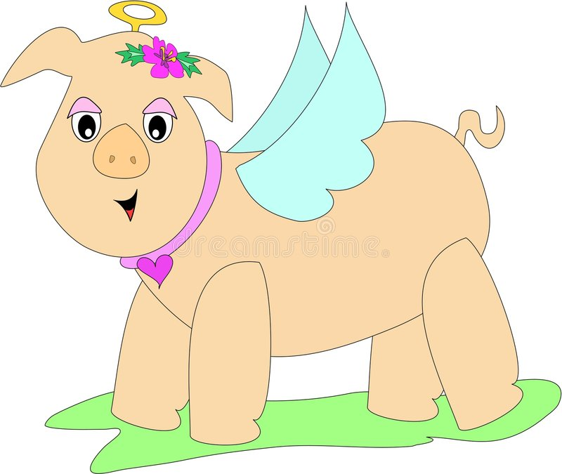 Download Whimsical Pig Angel Royalty Free Stock Images - Image: 7004489