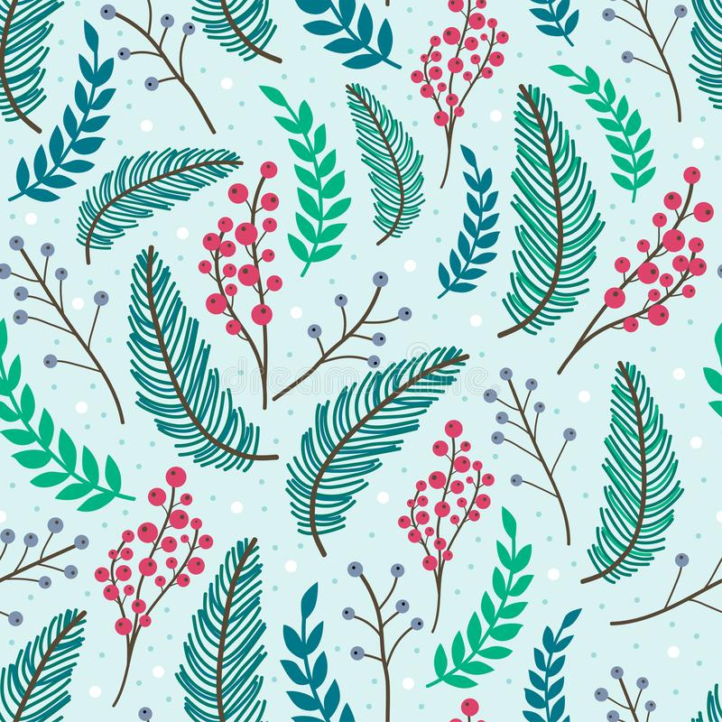Whimsical repeating pattern. Christmas and winter theme. Plants, berries and leaves. Hand drawn style. Perfect for textile, wrapping, print, web and all kinds vector illustration