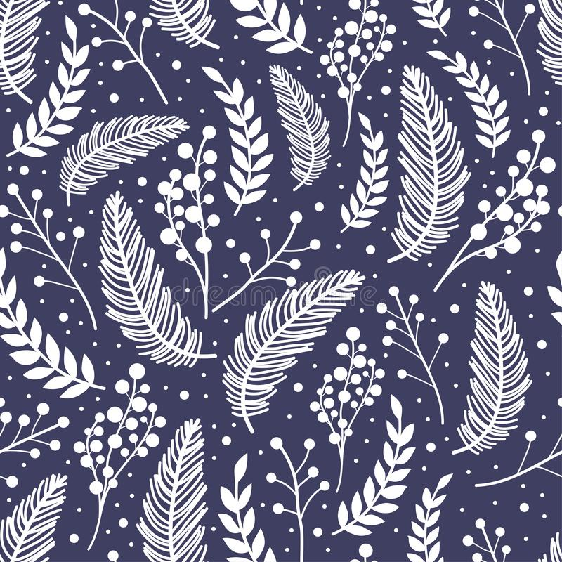 Whimsical repeating pattern. Christmas and winter theme. Plants, berries and leaves. Hand drawn style. Perfect for textile, wrapping, print, web and all kinds stock illustration