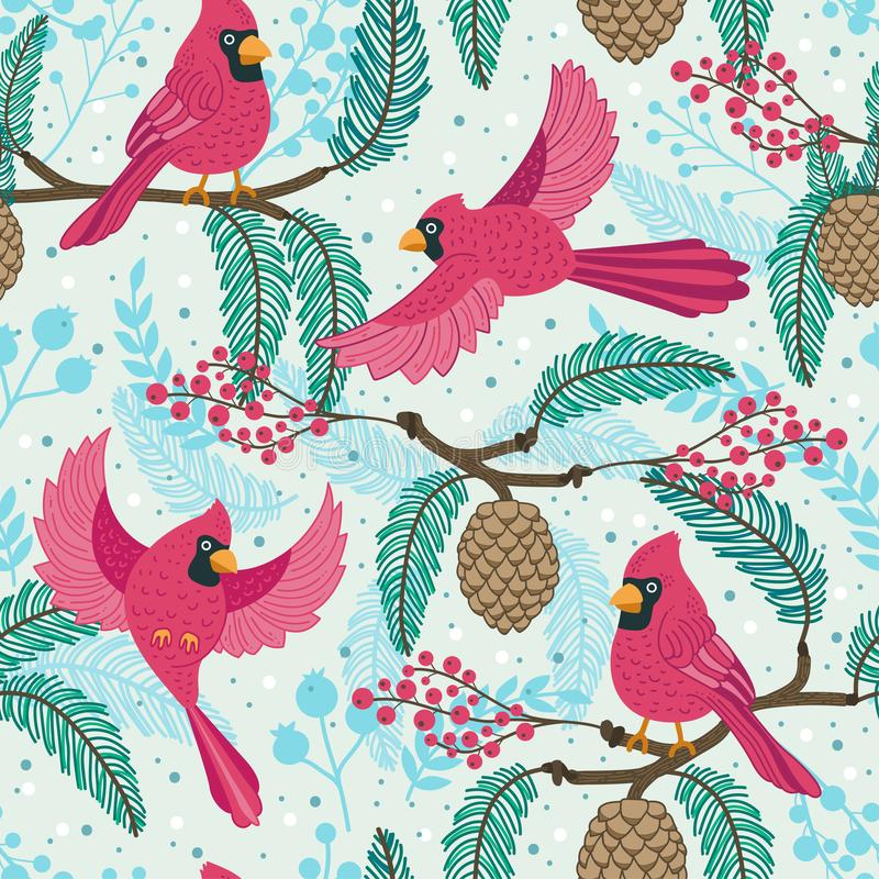Whimsical repeating pattern. Christmas and winter theme. Red Cardinal birds, pinecones, berries and branches. Perfect for textile, wrapping, print, web and all stock illustration