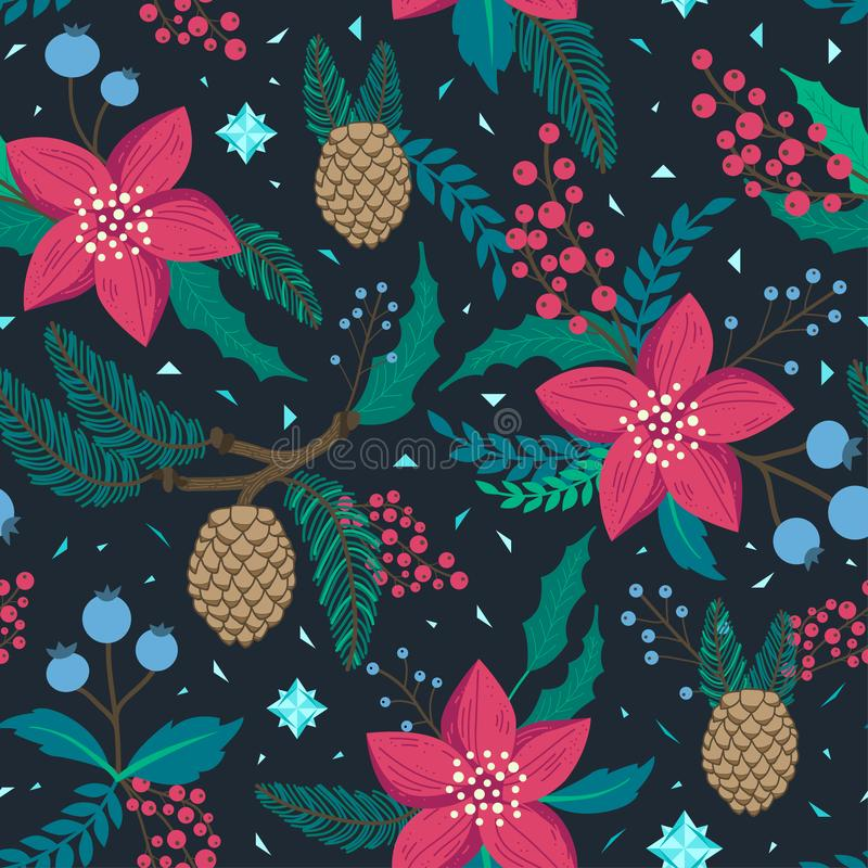 Whimsical repeating pattern. Christmas and winter theme. Plants, red flowers, pinecones, berries and branches. Hand drawn style. Whimsical repeating pattern royalty free illustration