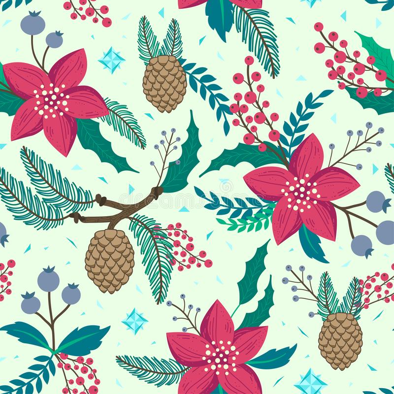 Whimsical repeating pattern. Christmas and winter theme. Plants, red flowers, pinecones, berries and branches. Hand drawn style. Whimsical repeating pattern stock illustration