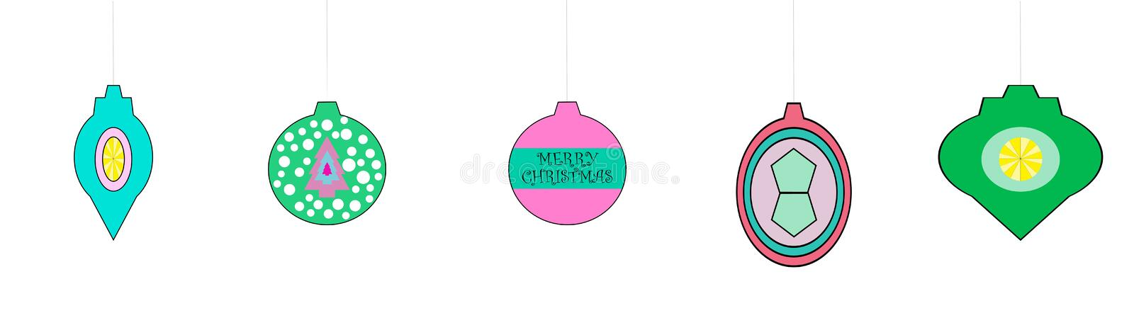 Whimsical Retro Looking Christmas Ornaments royalty free stock image