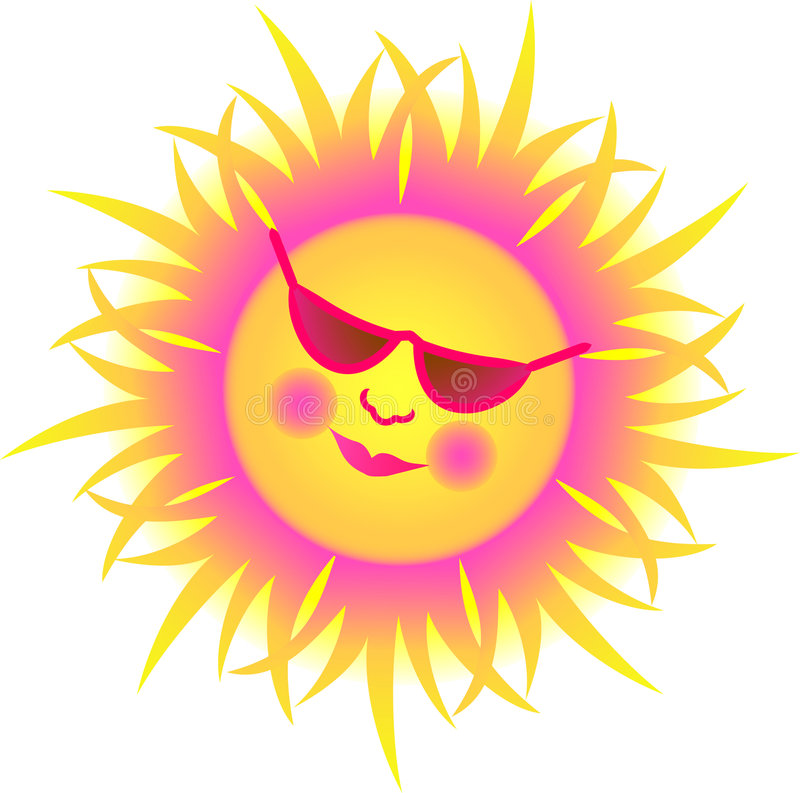 Whimsical Sun/eps. Cartoon illustration of a sun wearing sunglasses royalty free illustration