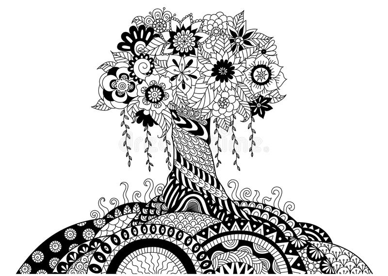 Download Whimsical Tree Line Art Design For Coloring Book And Other Decorations Stock Vector