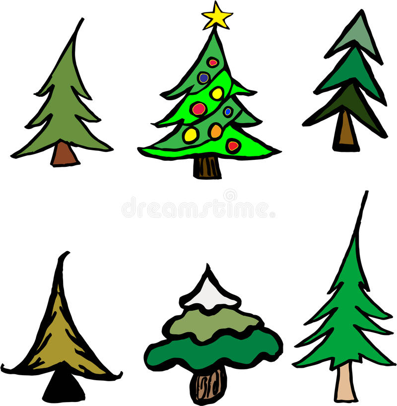 Whimsical Trees. Set of 6 whimsical trees perfect for any winter or Christmas projects. EPS file include to allow for complete customization by the customer stock illustration