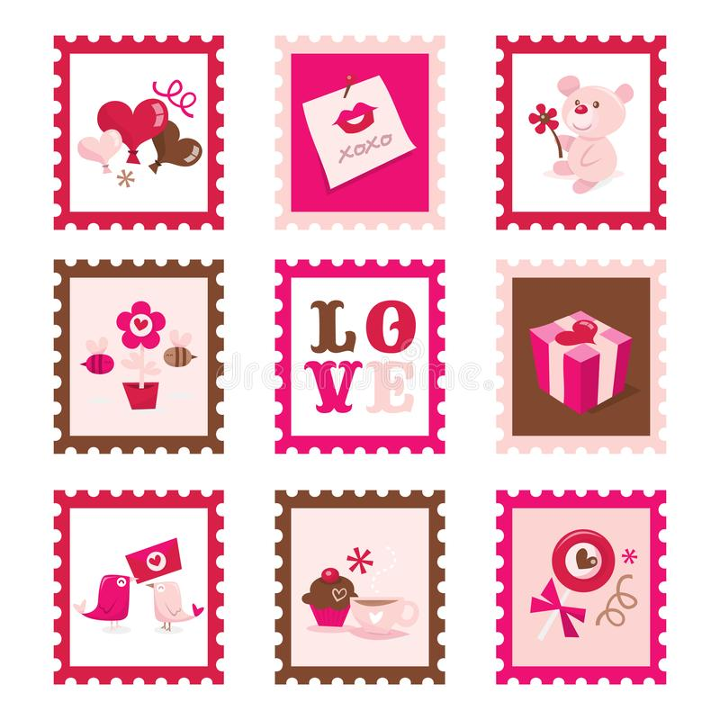 Whimsical Valentine`s Day Stamps Set royalty free illustration