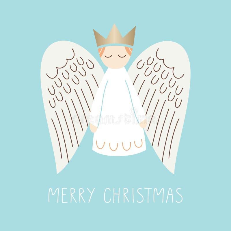 Whimsischer Weihnachtsanggel auf dem Aqua Background Vector Frohe Weihnachtskarte stock abbildung