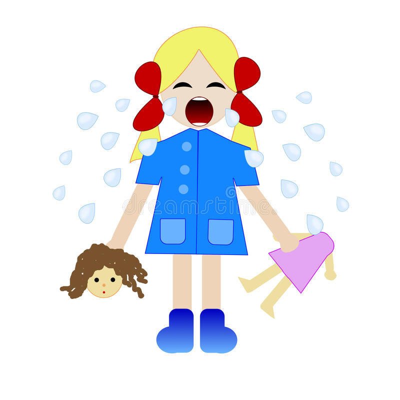 Whining girl with the broken doll in hands royalty free illustration