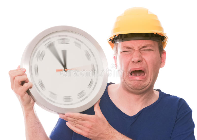 Whiny building time (spinning watch hands version) stock photos