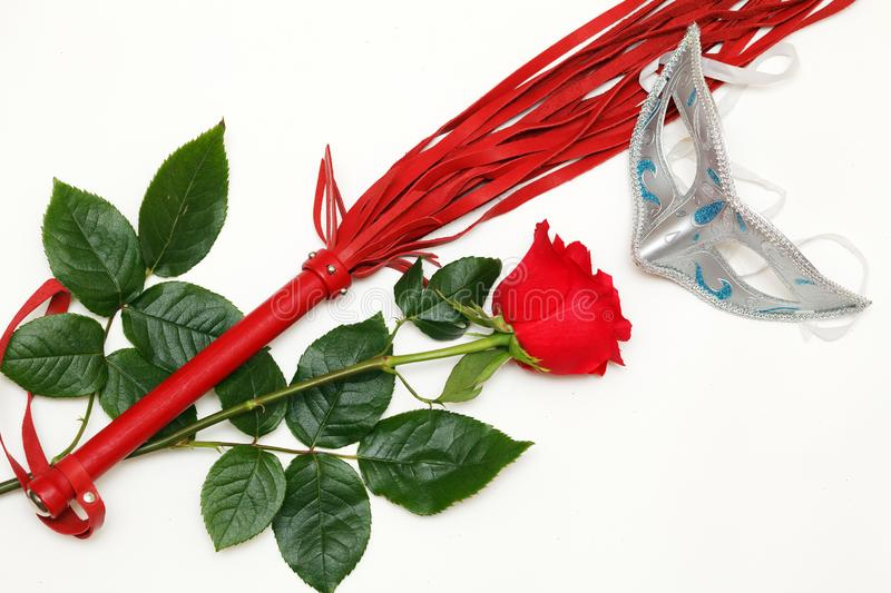 Whip and a rose stock images