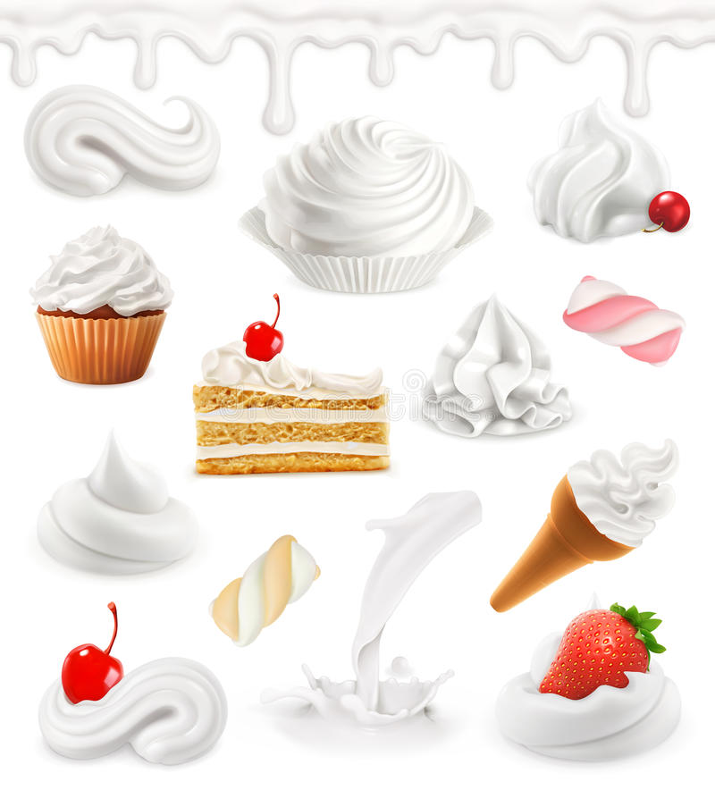 Whipped cream, milk, ice cream, cake, cupcake, candy. 3d vector icon set vector illustration