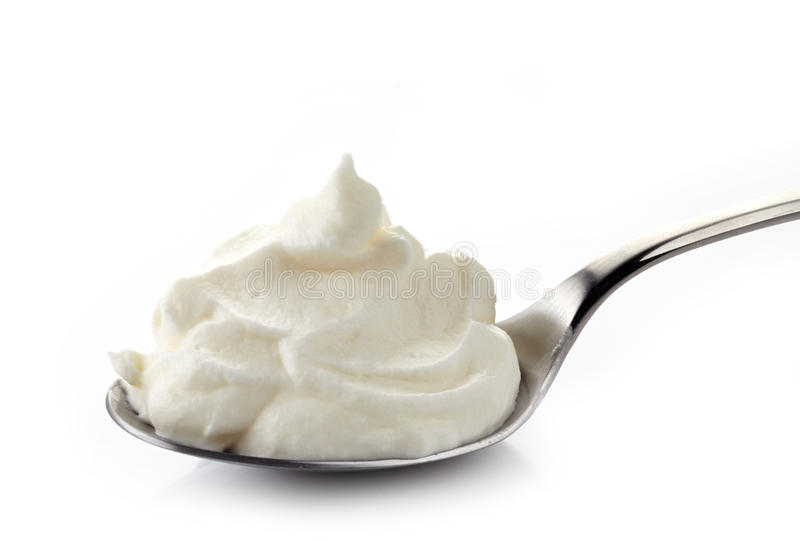 Download Whipped cream in a spoon stock image. Image of background - 39504883