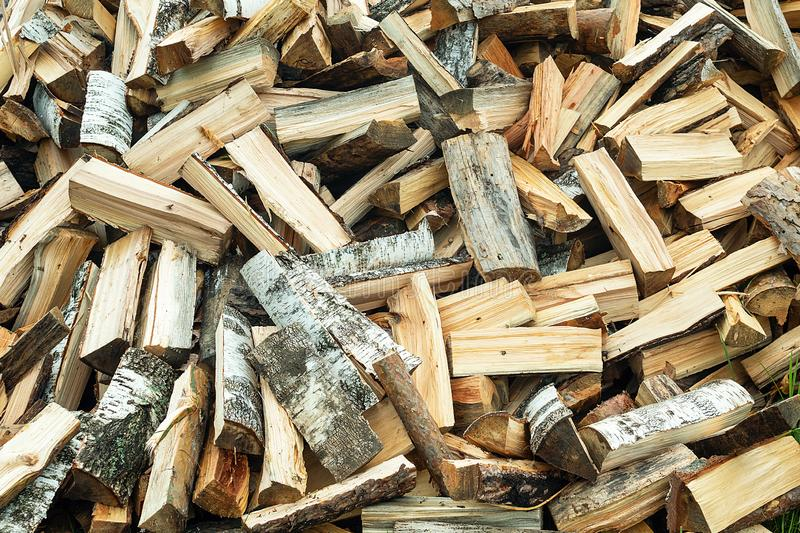 Whips of wood. Large amount of plywood. Harvesting in cold weather stock photography