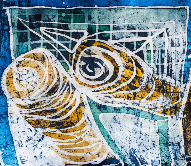 Whirl, hot batik, background texture, handmade on silk. Abstract surrealism art royalty free stock image