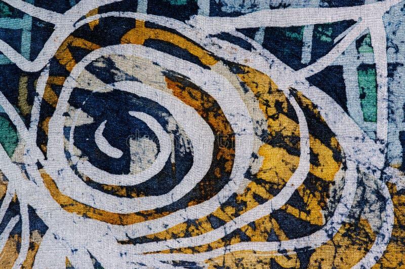 Whirl, hot batik, background texture, handmade on silk. Abstract surrealism art stock image