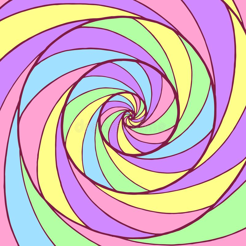 Whirl spiral pattern. Colorful psychedelic graphic art. Ornamental trippy backdrop. Vector illustration vector illustration