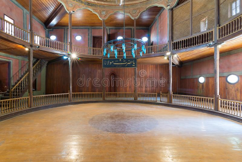 Whirling Dervishes Ceremony hall at the Mevlevi Tekke, old abandoned hall for the Whirling Dervishes, Cairo, Egypt. Whirling Dervishes Ceremony hall at the royalty free stock photos