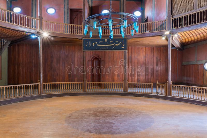 Whirling Dervishes Ceremony hall at the Mevlevi Tekke, old abandoned hall for the Whirling Dervishes, Cairo, Egypt. Whirling Dervishes Ceremony hall at the royalty free stock images