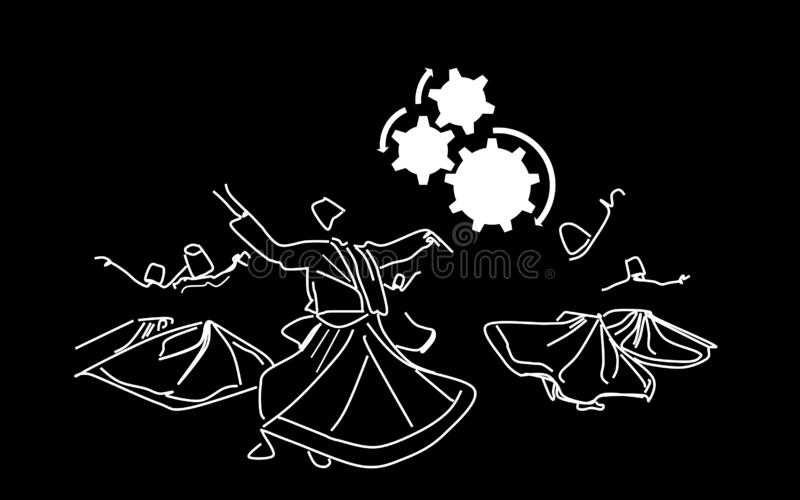 Whirling dervishes.  Whirling motion as a single mechanism. Sufi religious dance. Whirling dervishes. Sufi religious dance. Illustration, background royalty free illustration