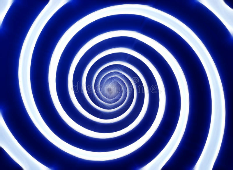 Whirlpool. Blue and white hypnotic whirlpool shape stock photo