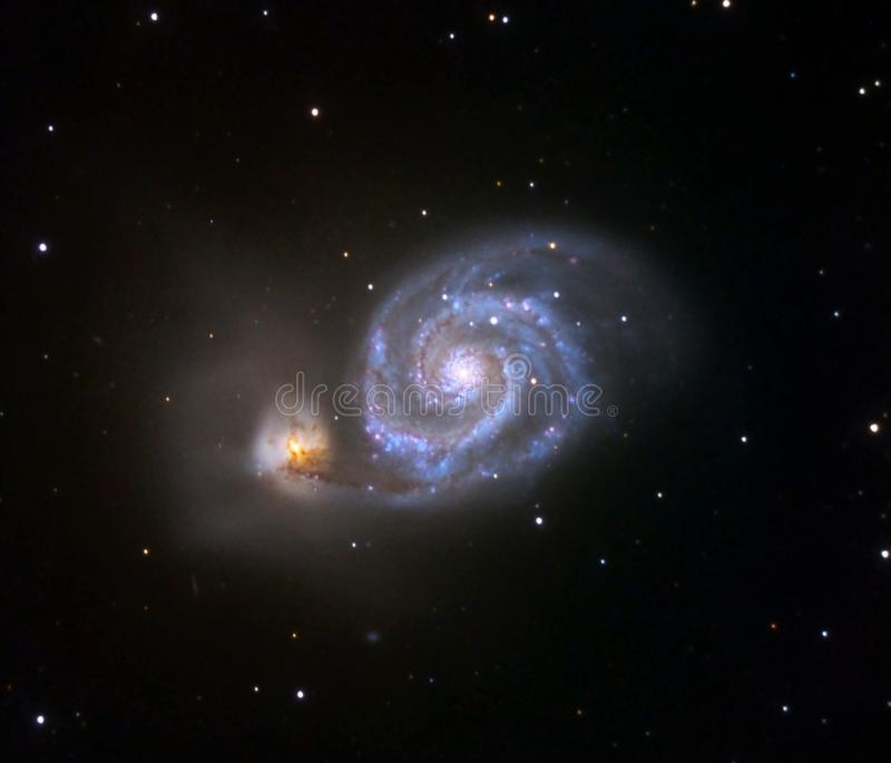 Whirlpool galaxy, colliding galaxies. Deepsky stock images