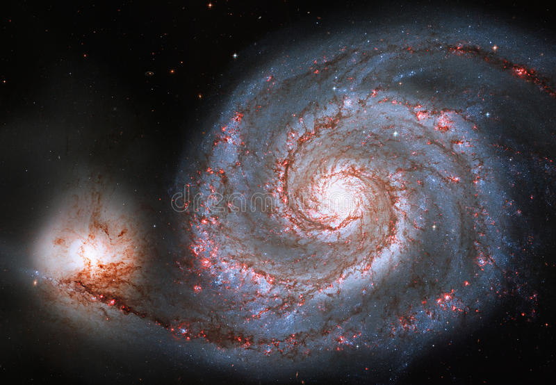 Whirlpool Galaxy. Spiral galaxy M51 or NGC 5194. Elements of this image are furnished by NASA stock photography