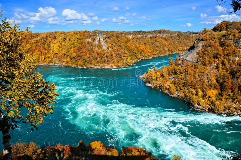Whirlpool rapids of the Niagara River with vibrant fall colors royalty free stock image