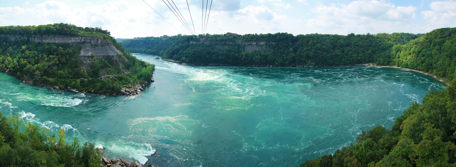 Whirlpool rapids. Panorama of whirlpool Rapids viewed from the cable Car in Niagara Falls stock photos