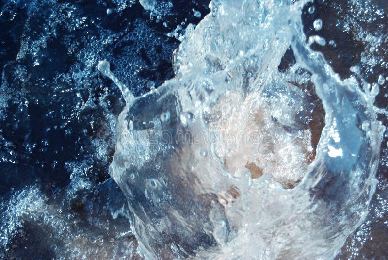Whirlpool splash. Whirlpool is bright-dark blue water sparks, air bubbles stock image