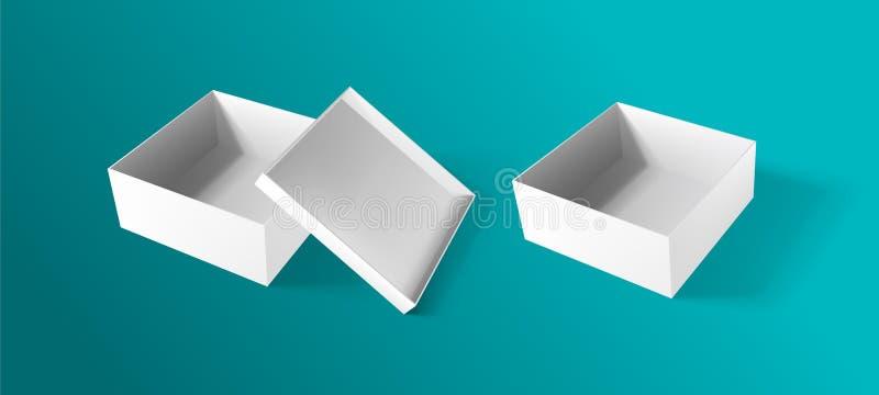Whirte纸箱大模型,现实倒空开放箱子 也corel凹道例证向量 向量例证