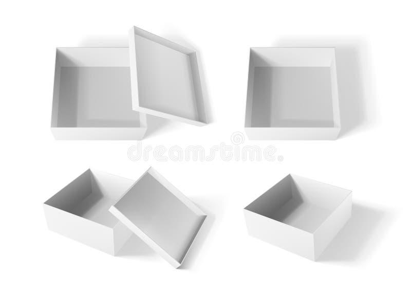 Whirte纸箱大模型,现实空的开放箱子集合 也corel凹道例证向量 皇族释放例证