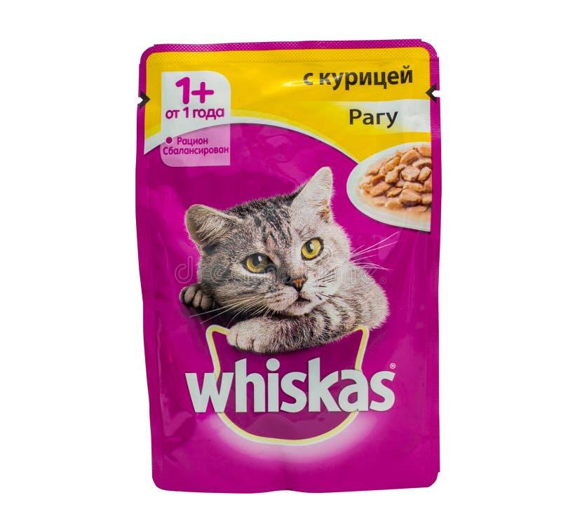 Whiskas blir rädd ragu, påsar av kattmat royaltyfri foto