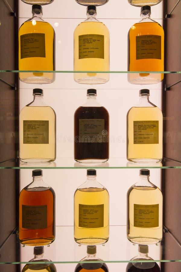 Whiskeis from different casks Suntory Yamazaki Whisky Museum stock photo