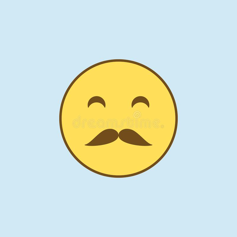 whiskered 2种族分界线象 简单的黄色和棕色元素例证 从emoji se的whiskered概念概述标志设计 皇族释放例证