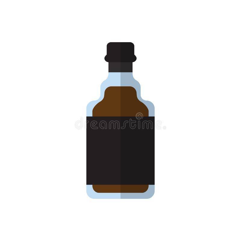 Whiskery butelki płaska ikona, wypełniający wektoru znak, kolorowy piktogram odizolowywający na bielu ilustracji