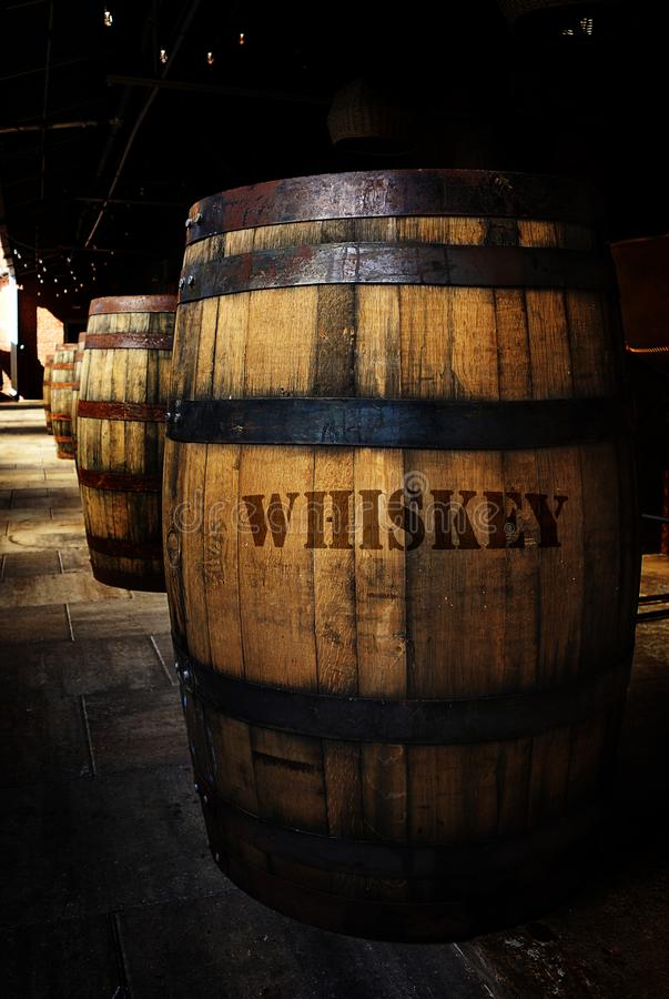 Whiskey aging in old wooden barrels. Whiskey barrels in a distillery warehouse stock photography