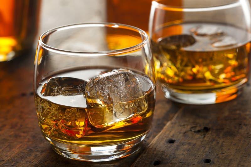 Whiskey alcolico Bourbon in un vetro con ghiaccio immagine stock