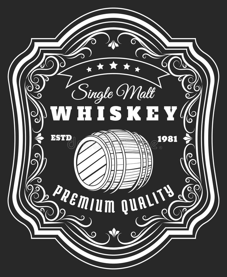 Whiskey barrel label. Old style rustic beverage sticker with frame pattern, antique blackboard whisky oak keg tag vector illustration vector illustration