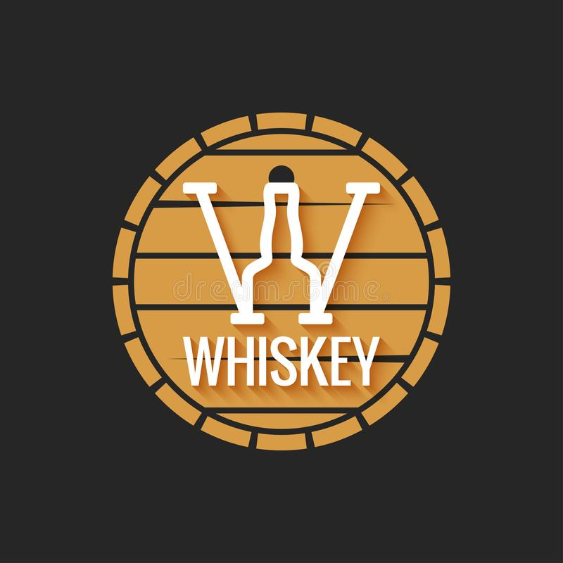 Whiskey barrel logo design on black background. 10 eps stock illustration