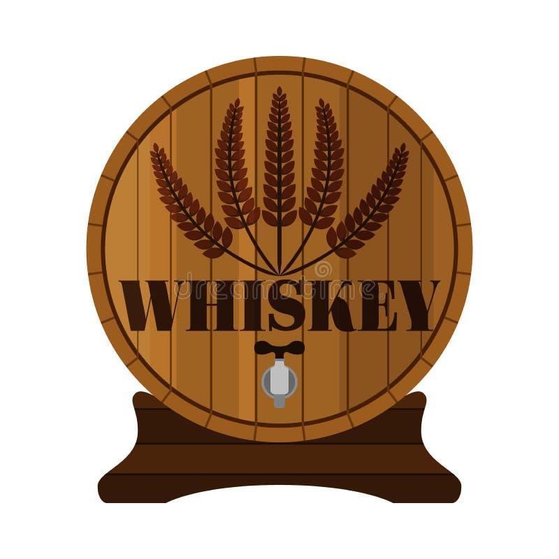 Whiskey barrel, Premium quality. Wheat wreath, flat style. Wood. Whiskey barrel, Premium quality. Wheat wreath, flat style Wood barrel stock illustration
