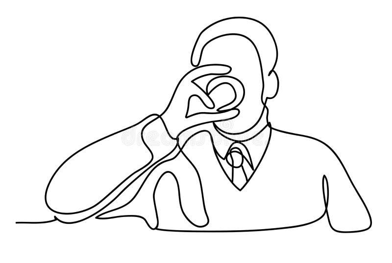Whiskey bevente dell'uomo a casa Disegno a tratteggio continuo Isolato sui precedenti bianchi Monocromio di vettore, disegnante v illustrazione vettoriale