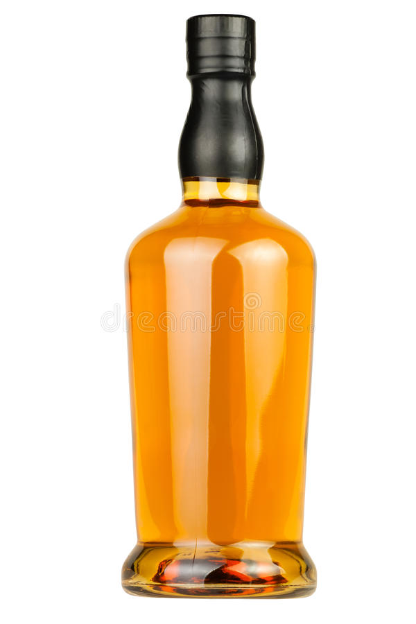 Whiskey bottle blank royalty free stock photos