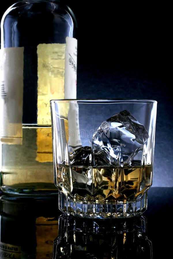 Download Whiskey Bottle & Glass stock photo. Image of alcohol, bottle - 954820