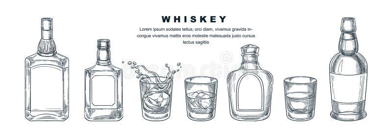 Whiskey bottles and glass, vector sketch illustration. Scotch, brandy or liquor alcohol drinks. Bar menu design elements. Whiskey bottles and glass with beverage royalty free illustration