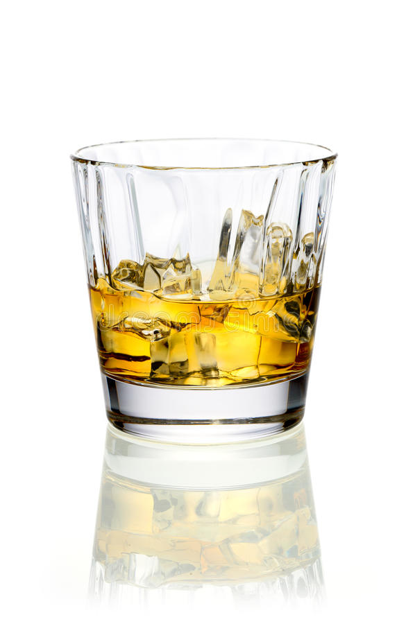 Download Whiskey or brandy on ice stock image. Image of soda, glass - 26760627