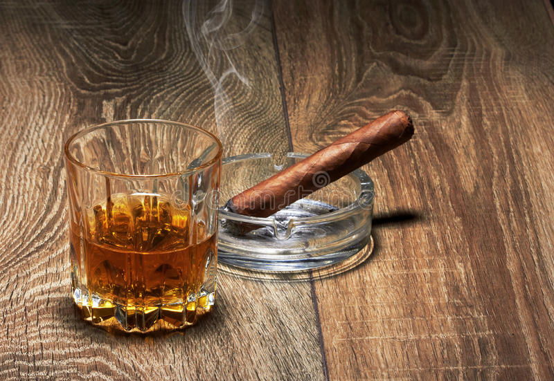 Download Whiskey and Cigar stock photo. Image of dark, drunks - 30367430