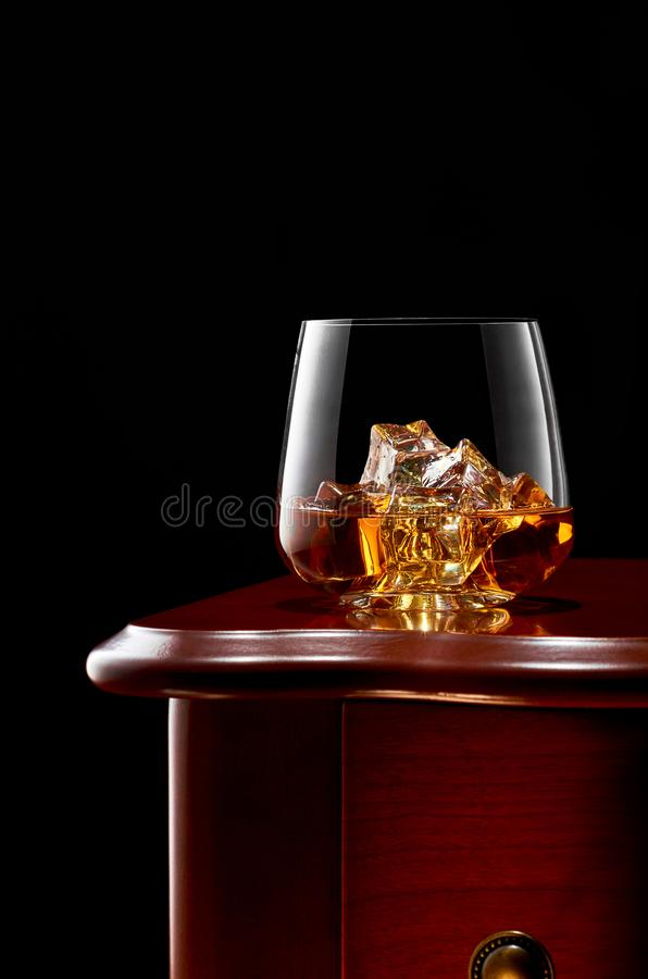 Whiskey on a dark background stock image