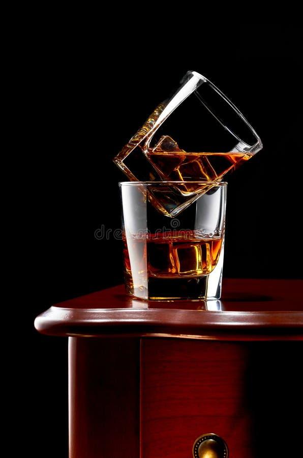 Whiskey on a dark background stock photo