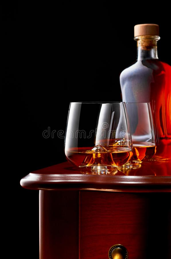 Whiskey on a dark background royalty free stock image